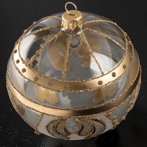Palla albero Natale vetro trasparente oro 10 cm 2