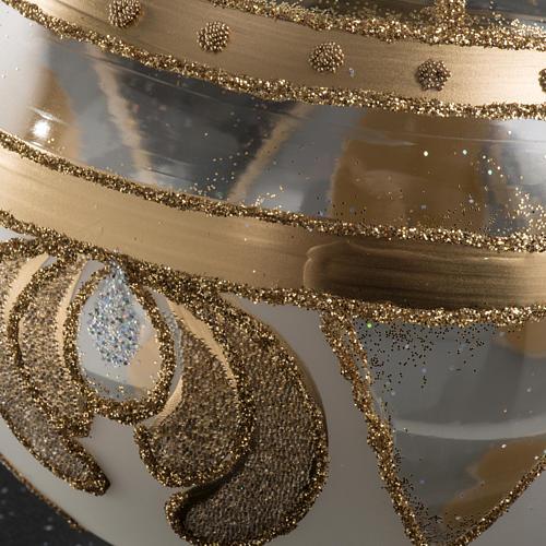 Palla albero Natale vetro trasparente oro 10 cm 3