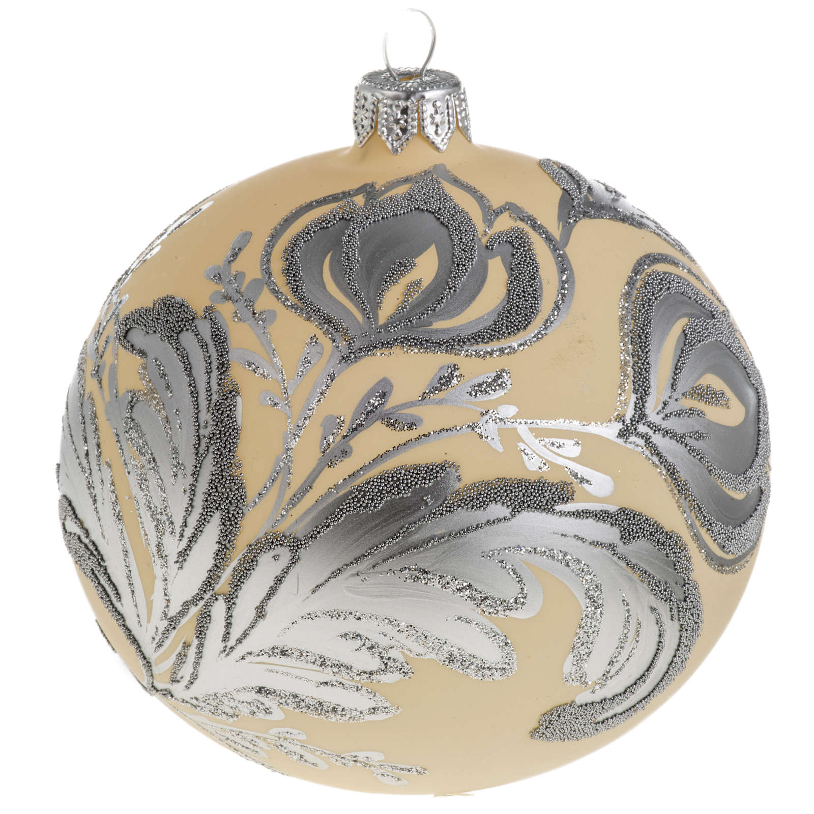 Palla albero Natale vetro argento avorio 10 cm 4