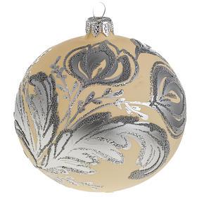 Palla albero Natale vetro argento avorio 10 cm s1