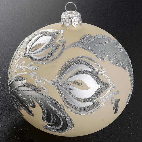 Palla albero Natale vetro argento avorio 10 cm 2