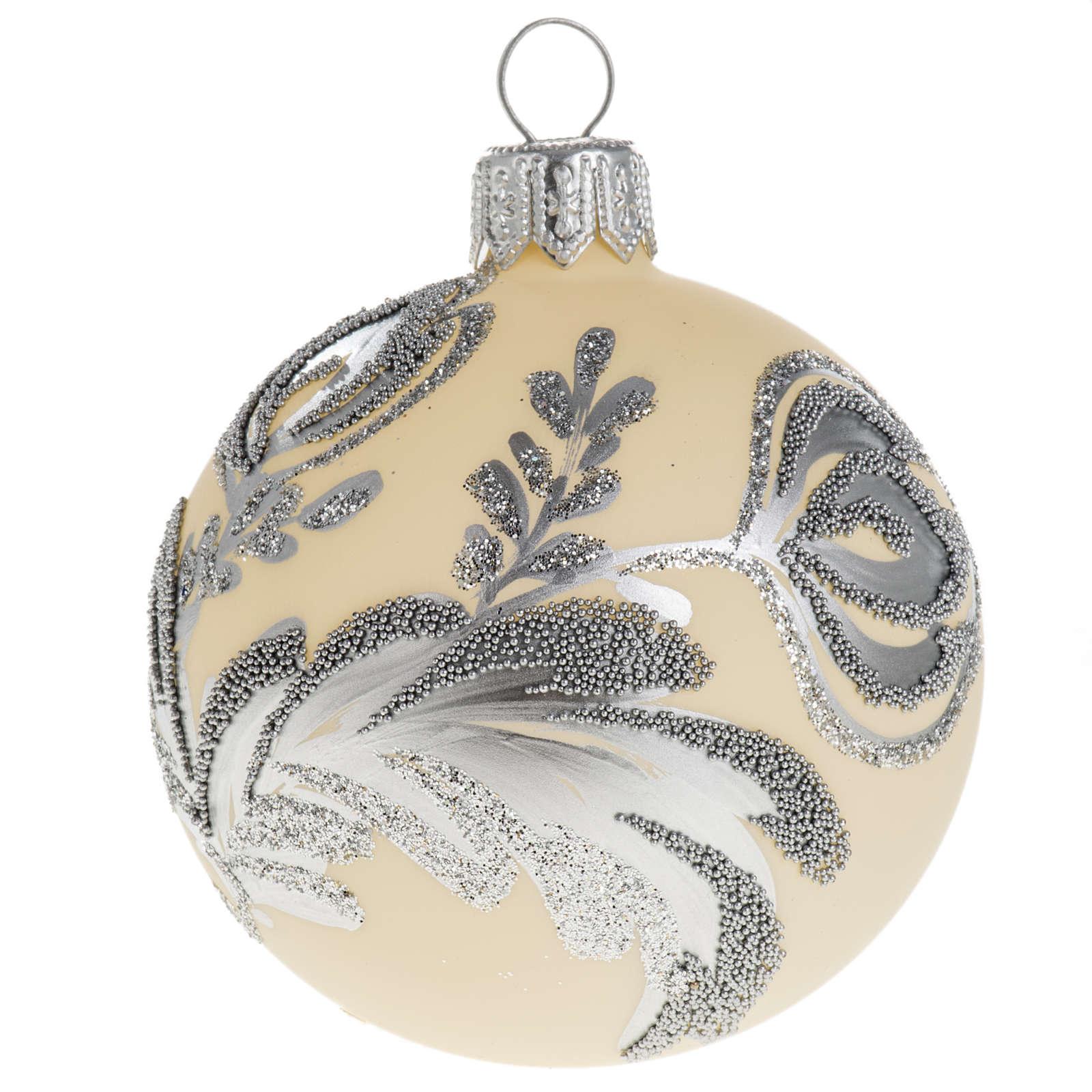 Palla albero Natale vetro argento avorio 6 cm 4