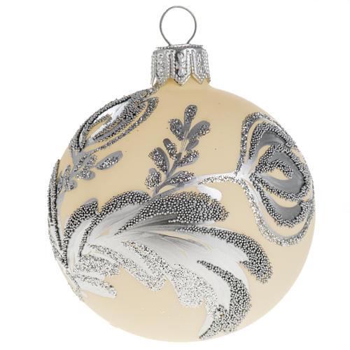 Palla albero Natale vetro argento avorio 6 cm 1