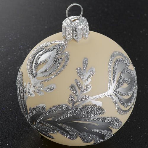 Palla albero Natale vetro argento avorio 6 cm 2