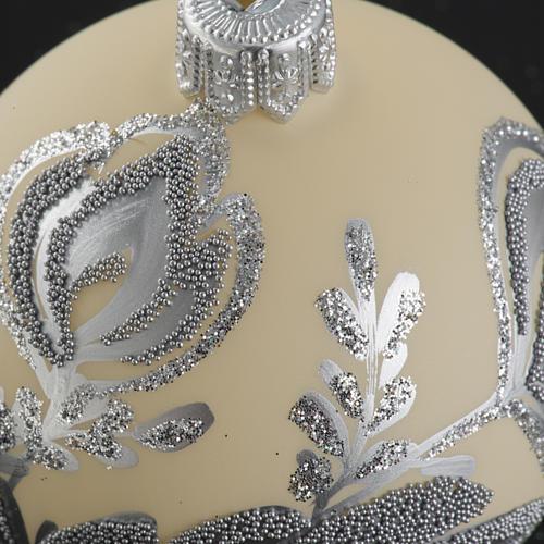 Palla albero Natale vetro argento avorio 6 cm 3