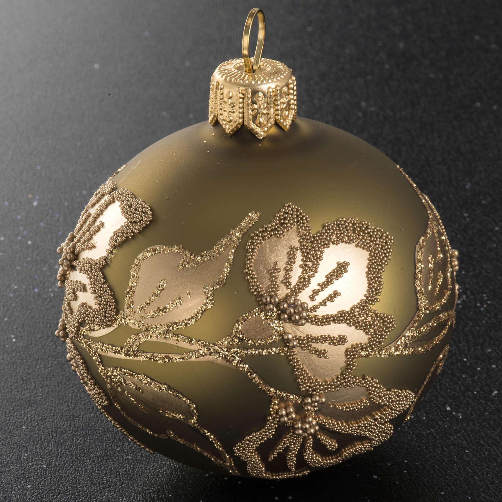 Palla albero Natale vetro trasparente oro 6 cm 4