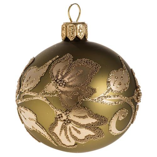 Palla albero Natale vetro trasparente oro 6 cm 1