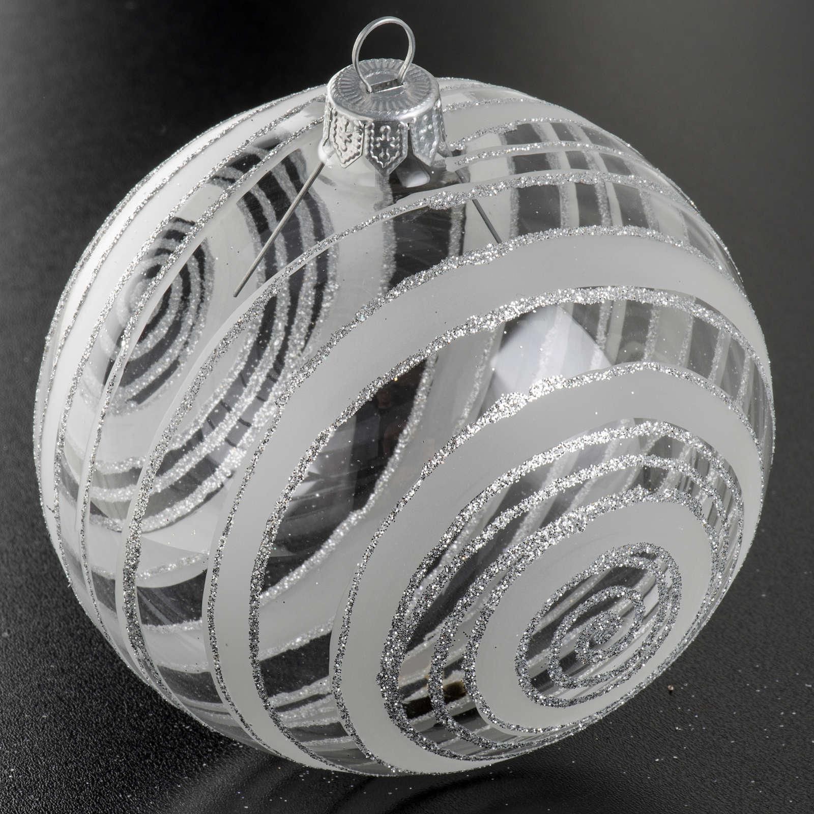 Palla albero Natale vetro trasparente argento 10 cm 4
