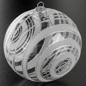 Palla albero Natale vetro trasparente argento 10 cm s2