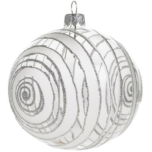 Palla albero Natale vetro trasparente argento 10 cm 1