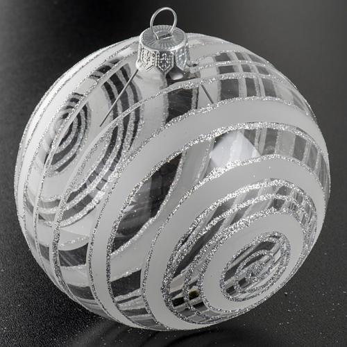 Palla albero Natale vetro trasparente argento 10 cm 2