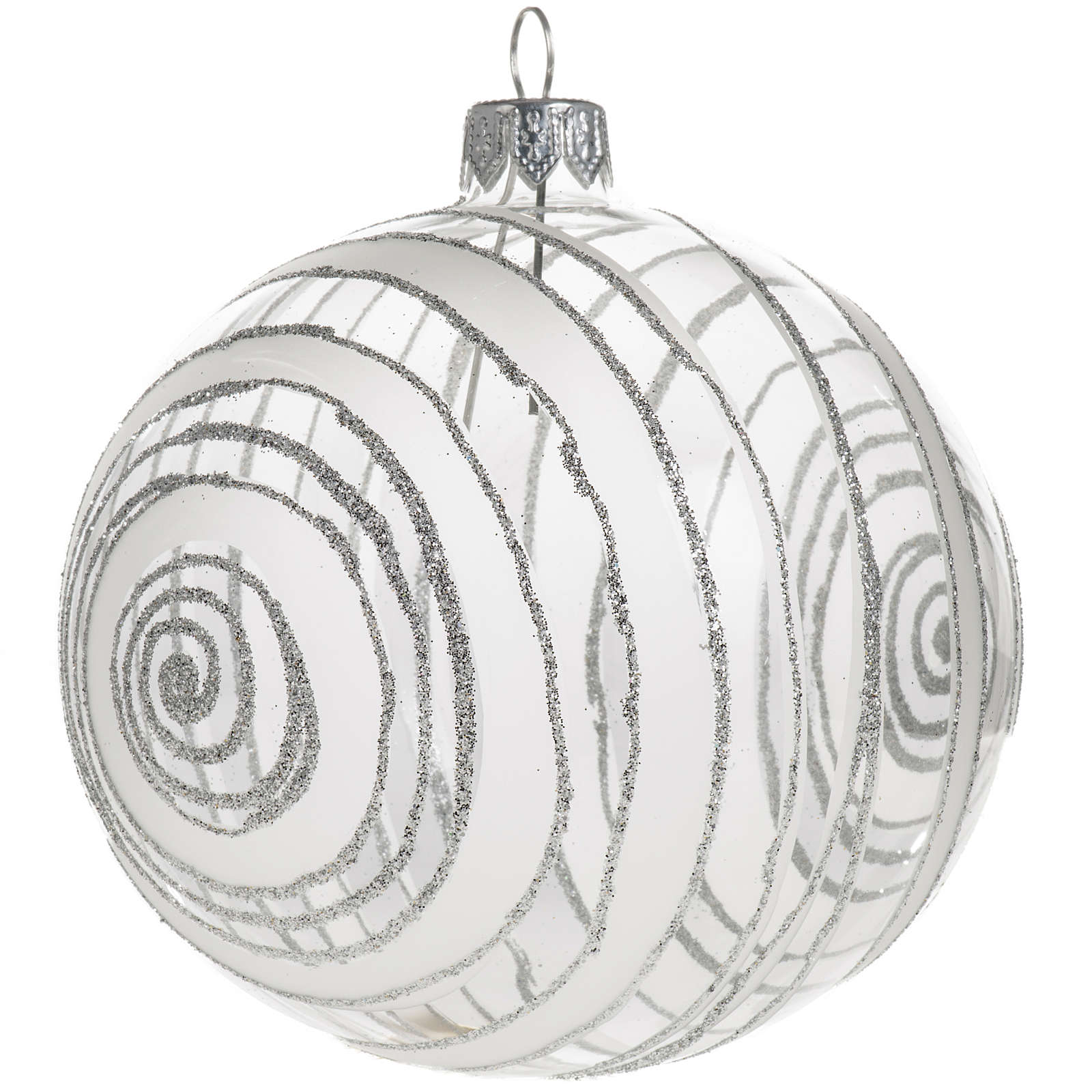 Christmas bauble, silver and transparent glass 10cm 4