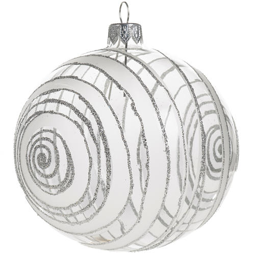 Christmas bauble, silver and transparent glass 10cm 1