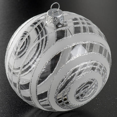 Christmas bauble, silver and transparent glass 10cm 2