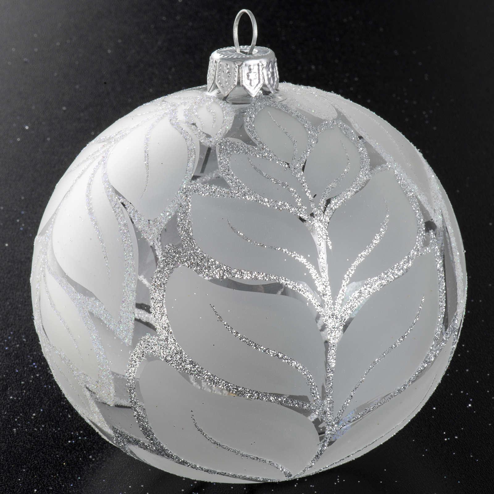 Palla albero Natale vetro trasparente opaco 10 cm 4