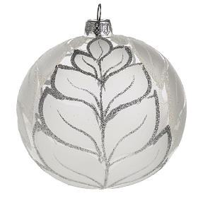 Palla albero Natale vetro trasparente opaco 10 cm s1