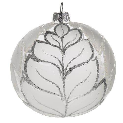 Palla albero Natale vetro trasparente opaco 10 cm 1