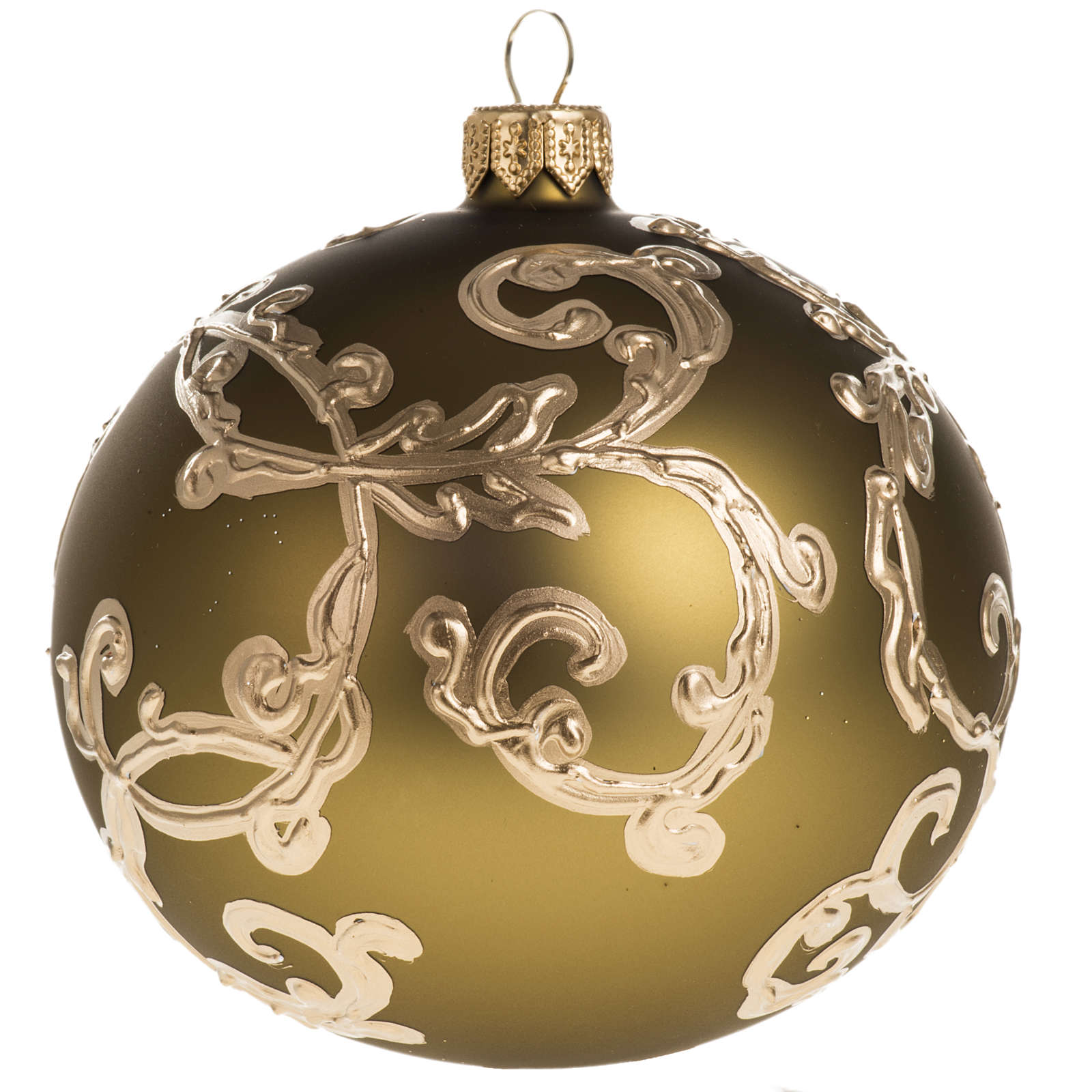 Christmas Bauble In Gold Glass With Decorations 10Cm 4