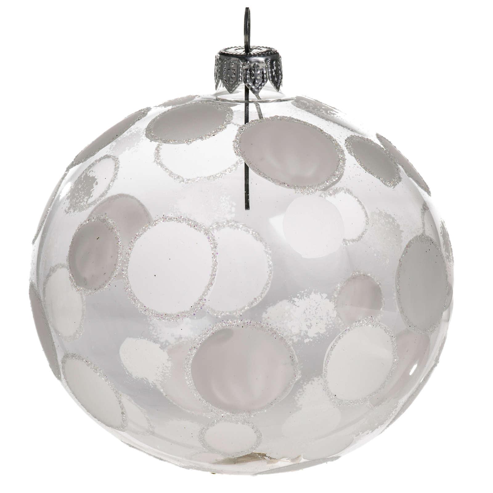 Palla albero Natale trasparente bianco cerchi 10 cm 4
