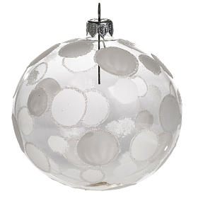 Palla albero Natale trasparente bianco cerchi 10 cm s1