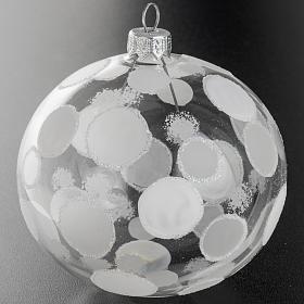 Palla albero Natale trasparente bianco cerchi 10 cm s2