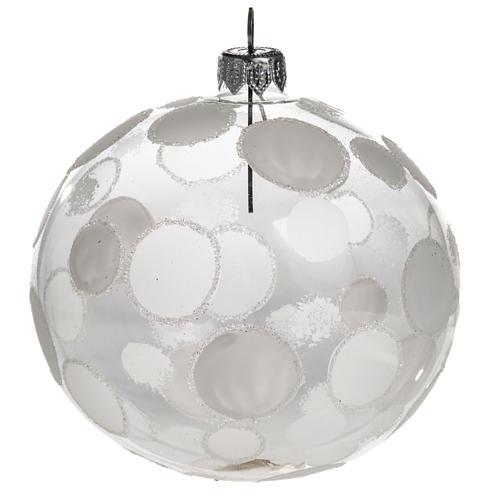 Palla albero Natale trasparente bianco cerchi 10 cm 1