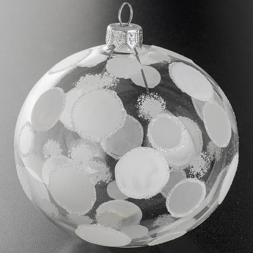 Palla albero Natale trasparente bianco cerchi 10 cm 2