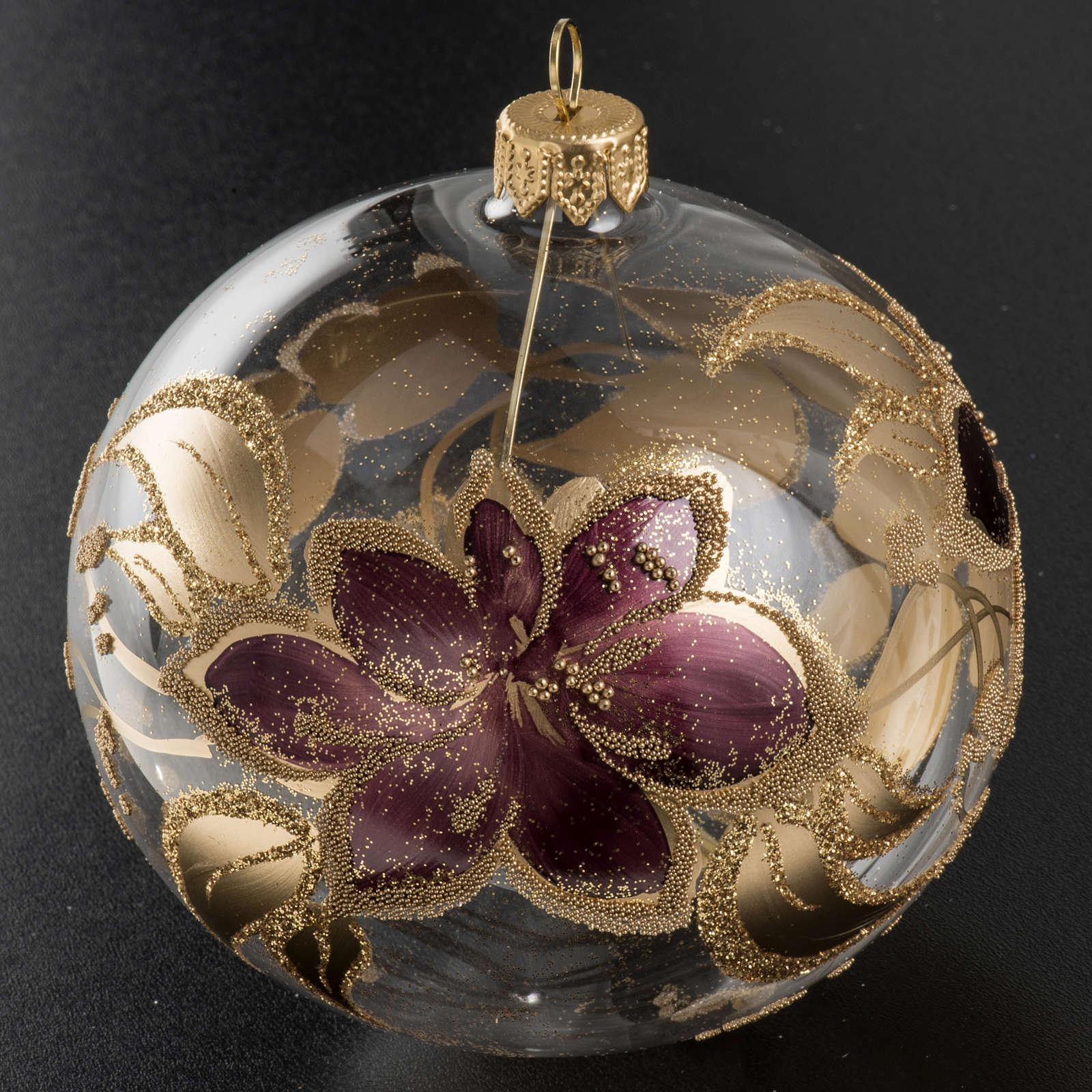 Palla albero Natale vetro trasparente fiore viola 10 cm 4