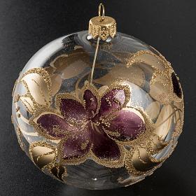 Palla albero Natale vetro trasparente fiore viola 10 cm s2
