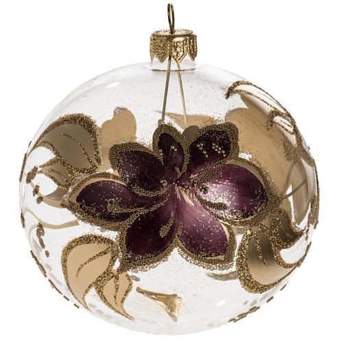 Palla albero Natale vetro trasparente fiore viola 10 cm 1