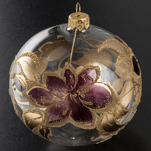 Palla albero Natale vetro trasparente fiore viola 10 cm 2