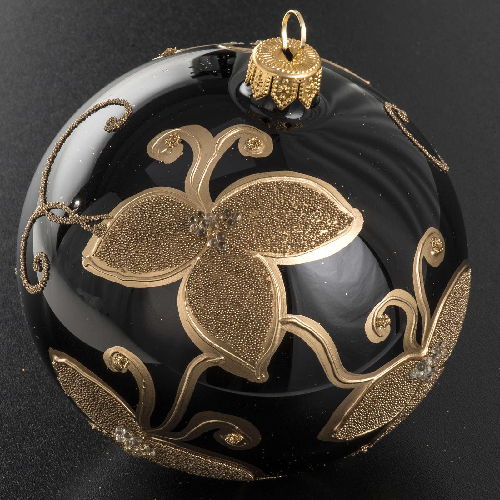 Palla albero Natale nera vetro soffiato fiore oro 10 cm 4