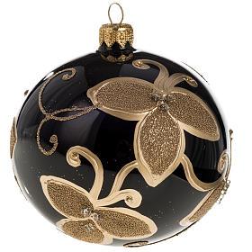 Palla albero Natale nera vetro soffiato fiore oro 10 cm s1