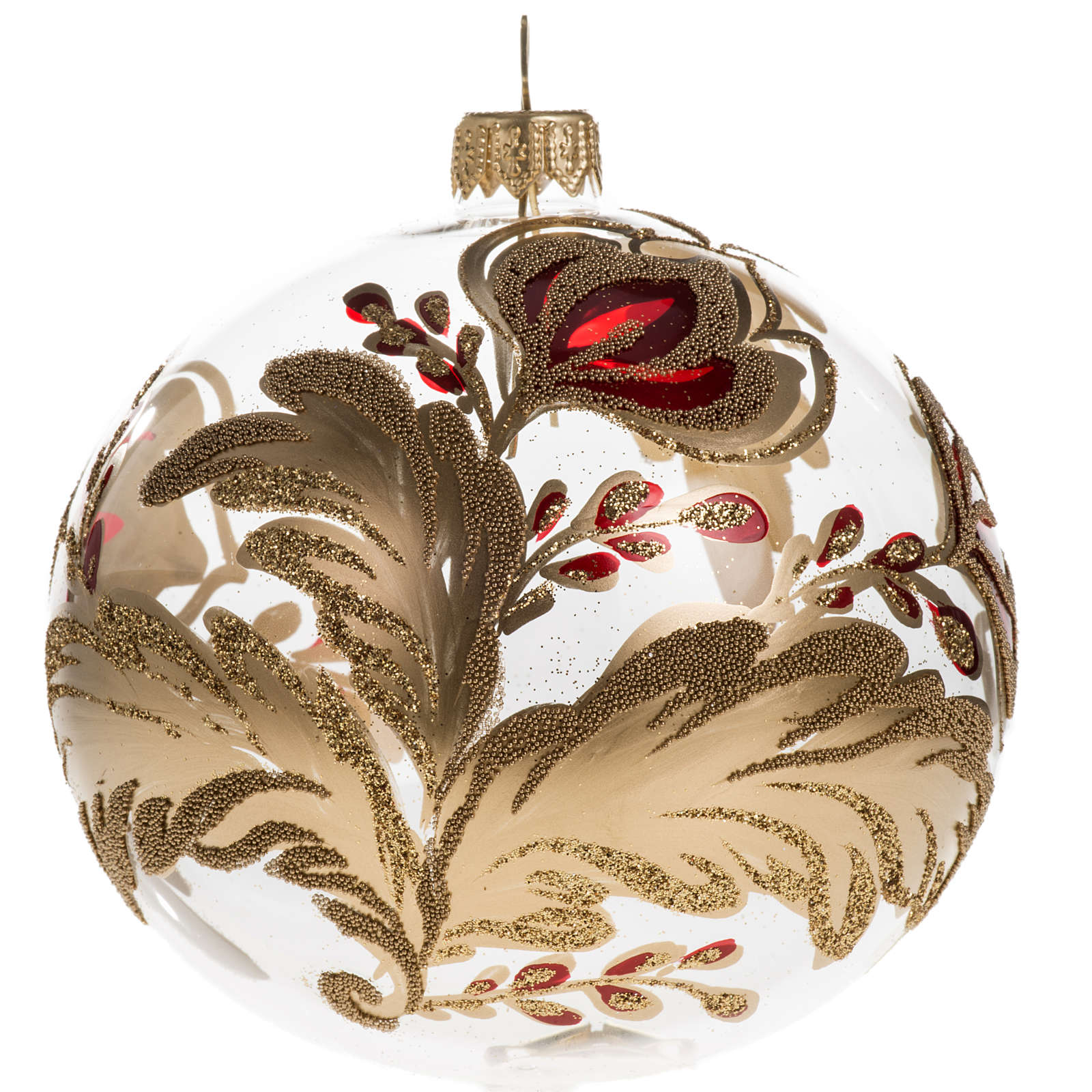 Christmas bauble, transparent blown glass with flowers 10cm 4
