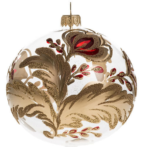 Christmas bauble, transparent blown glass with flowers 10cm 1