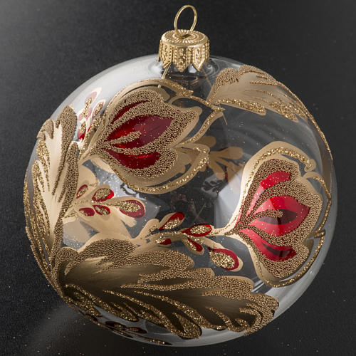 Christmas bauble, transparent blown glass with flowers 10cm 2