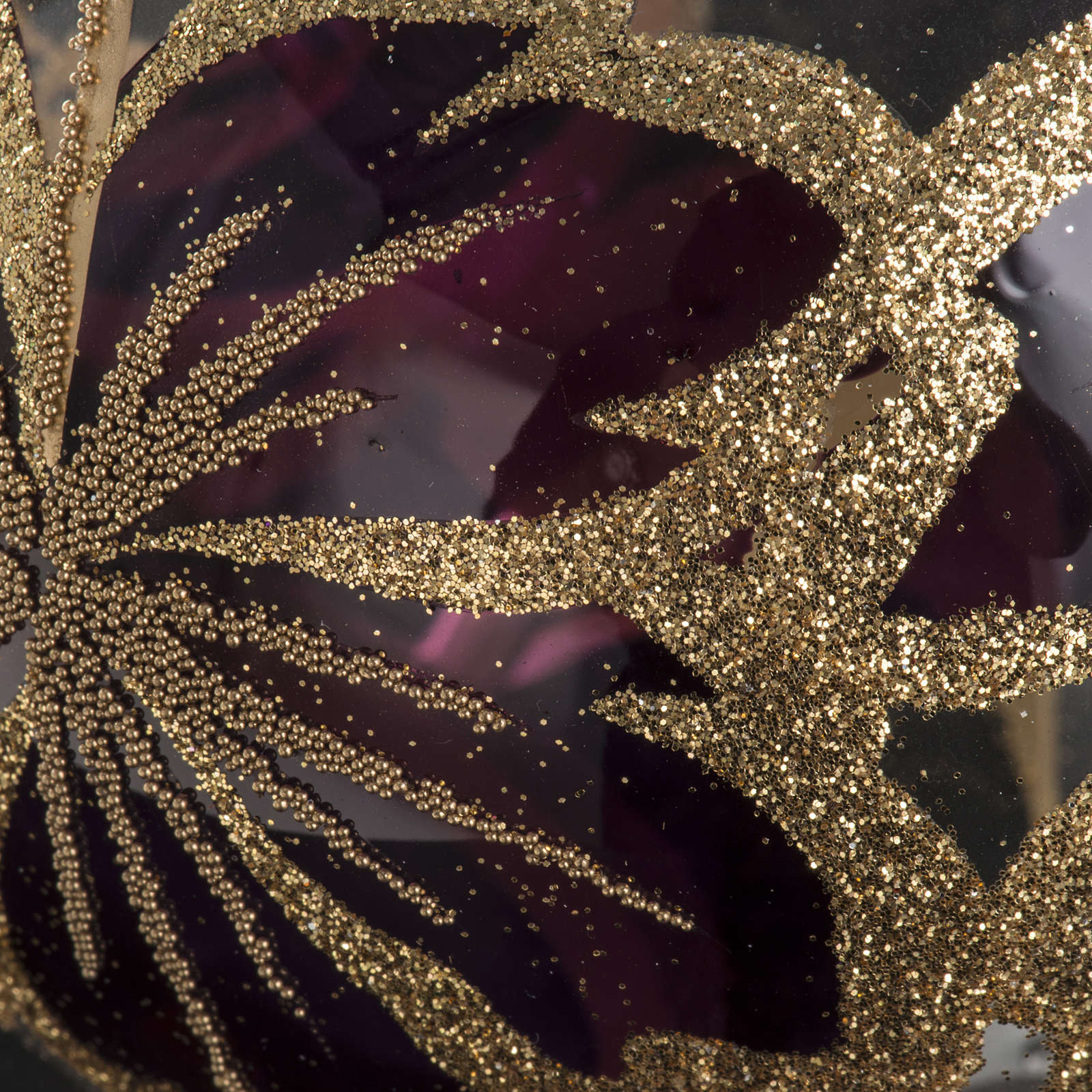 Christmas bauble, transparent glass and fuchsia flower 10cm 4