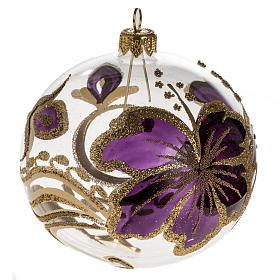Christmas bauble, transparent glass and fuchsia flower 10cm s1