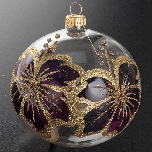 Christmas bauble, transparent glass and fuchsia flower 10cm 2
