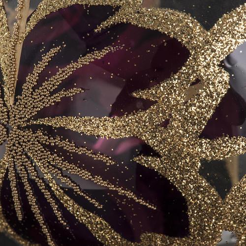Christmas bauble, transparent glass and fuchsia flower 10cm 3