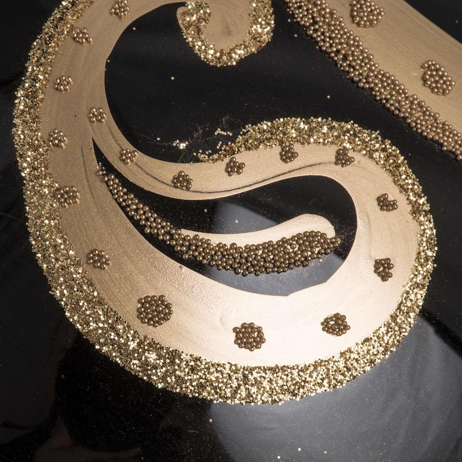 Boule de Noel verre soufflé noire décors or 15 cm 4