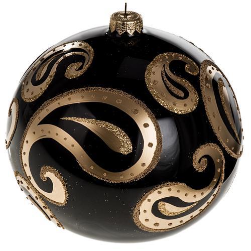 Boule de Noel verre soufflé noire décors or 15 cm 1