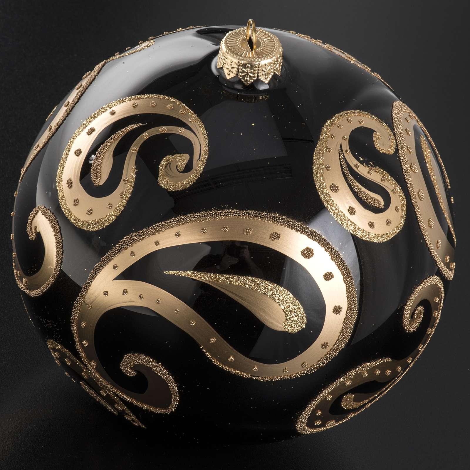 Palla Natale vetro soffiato nero decori oro 15 cm 4