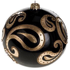 Palla Natale vetro soffiato nero decori oro 15 cm s1