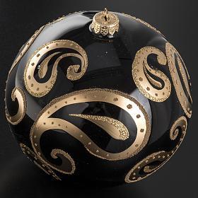 Palla Natale vetro soffiato nero decori oro 15 cm s2