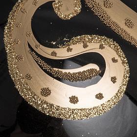 Palla Natale vetro soffiato nero decori oro 15 cm s3