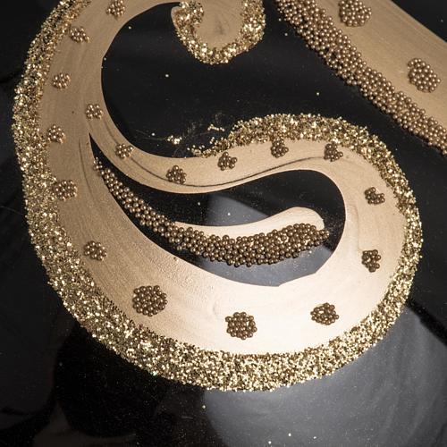 Palla Natale vetro soffiato nero decori oro 15 cm 3