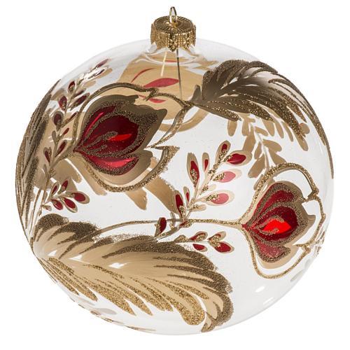 Palla Natale vetro soffiato trasparente fiore rosso oro 15 cm 1