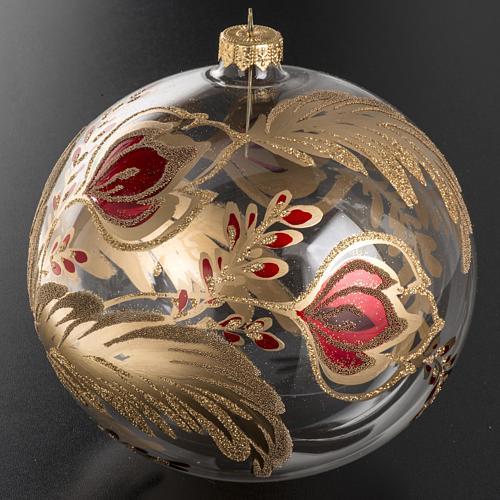 Palla Natale vetro soffiato trasparente fiore rosso oro 15 cm 2