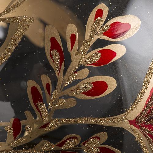 Palla Natale vetro soffiato trasparente fiore rosso oro 15 cm 3